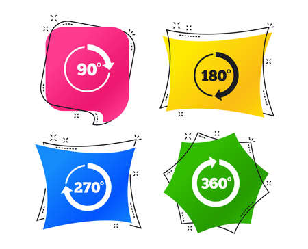 Angle 45-360 degrees circle icons. Geometry math signs symbols. Full complete rotation arrow. Geometric colorful tags. Banners with flat icons. Trendy design. Vector Stock Photo - 113235254