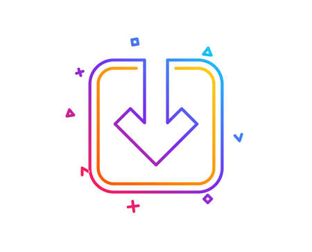 Load document line icon. Download arrowhead symbol. Direction or pointer sign. Gradient line button. Load document icon design. Colorful geometric shapes. Vector Stock fotó