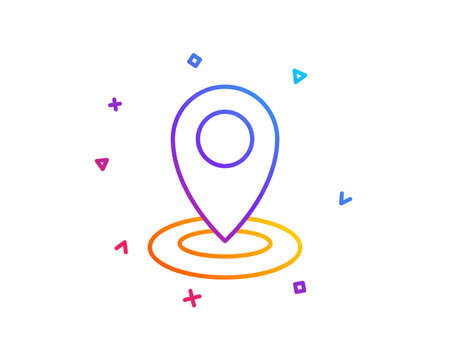 Location line icon. Map pointer sign. Gradient line button. Location icon design. Colorful geometric shapes. Vector