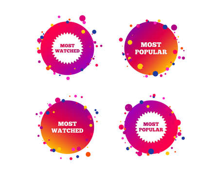 Most popular star icon. Most watched symbols. Clients or users choice signs. Gradient circle buttons with icons. Random dots design. Vector