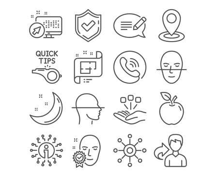 Set of Tutorials, Face scanning and Architectural plan icons. Location, Face verified and Consolidation signs. Message, Multichannel symbols. Quick tips, Faces detection, Technical project. Vector