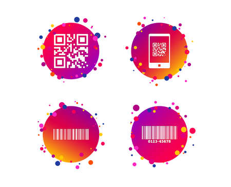 Bar and Qr code icons. Scan barcode in smartphone symbols. Gradient circle buttons with icons. Random dots design. Vector