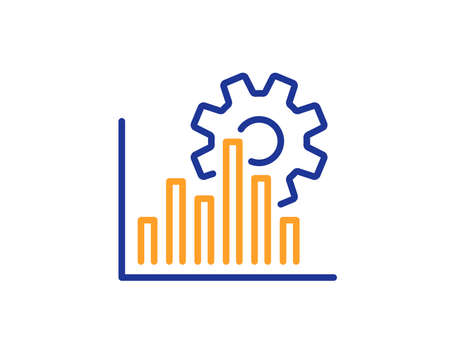 Seo graph line icon. Search engine optimization sign. Analytics symbol. Colorful outline concept. Blue and orange thin line color Seo graph icon. Vector Иллюстрация