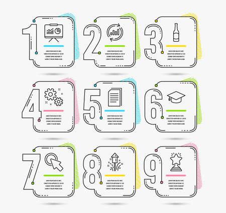 Infografik-Zeitleiste mit Abschlusskappe, Klicken Sie hier und Symbolen für Arbeit. Feuerwerk, Bier und Datenschilder aktualisieren. Kopieren Sie Dateien, Präsentations- und Gewinnersymbole. Vektor