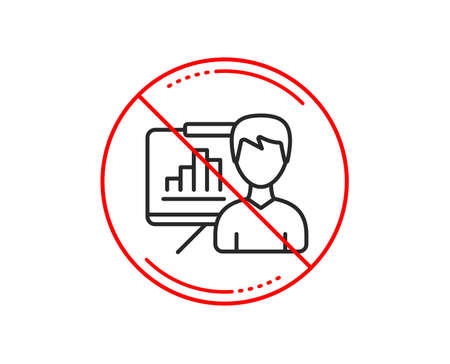 No or stop sign. Presentation board line icon. Column graph sign. Growth diagram symbol. Caution prohibited ban stop symbol. No  icon design.  Vector