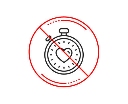 No or stop sign. Heart in Timer line icon. Love symbol. Valentines day stopwatch sign. Caution prohibited ban stop symbol. No  icon design.  Vector
