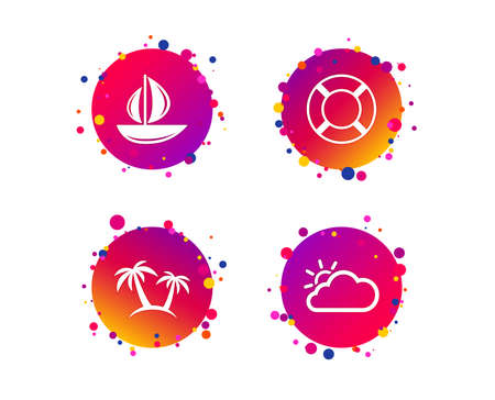 Travel icons. Sail boat with lifebuoy symbols. Cloud with sun weather sign. Palm tree. Gradient circle buttons with icons. Random dots design. Vector