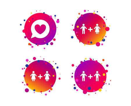 Couple love icon. Lesbian and Gay lovers signs. Romantic homosexual relationships. Speech bubble with heart symbol. Gradient circle buttons with icons. Random dots design. Vector