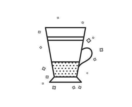 Double Latte coffee icon. Hot drink sign. Beverage symbol. Geometric shapes. Random cross elements. Linear Double Latte icon design. Vector Иллюстрация