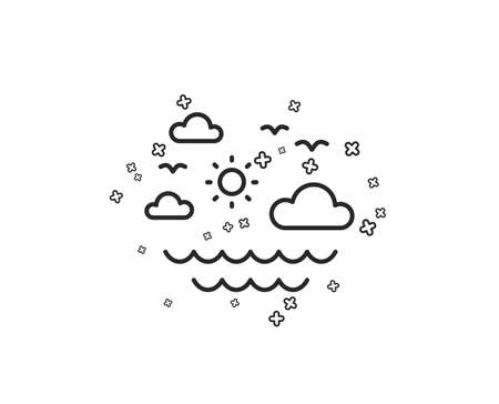 Travel sea line icon. Sun, clouds and waves sign. Summer holidays symbol. Geometric shapes. Random cross elements. Linear Travel sea icon design. Vector
