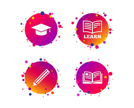 Pencil and open book icons. Graduation cap symbol. Higher education learn signs. Gradient circle buttons with icons. Random dots design. Vector 版權商用圖片 - 126856222
