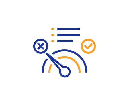 Reject bandwidth meter line icon. No internet sign. Speedometer symbol. Colorful outline concept. Blue and orange thin line color No internet icon. Vector 写真素材 - 126856223