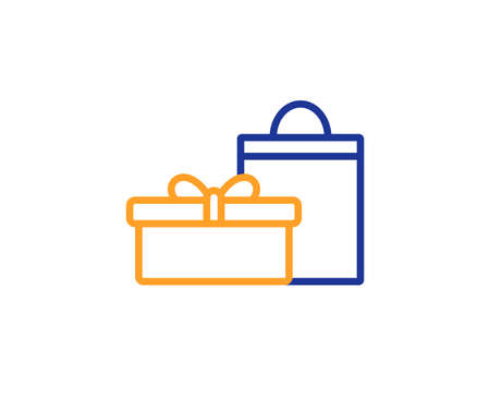 Gift box with bag line icon. Present or Sale sign. Birthday Shopping symbol. Package in Gift Wrap. Colorful outline concept. Blue and orange thin line color icon. Gifts Vector