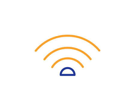 Wifi line icon. Wi-fi internet sign. Wireless network symbol. Colorful outline concept. Blue and orange thin line color icon. Wifi Vector Illustration