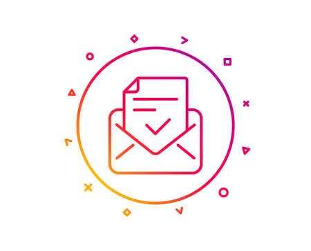 Approved mail line icon. Accepted or confirmed sign. Document symbol. Gradient pattern line button. Approved mail icon design. Geometric shapes. Vector