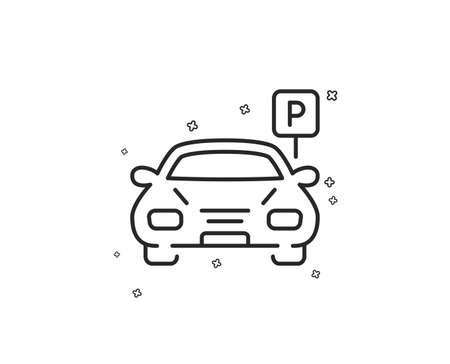Car parking line icon. Auto park sign. Transport place symbol. Geometric shapes. Random cross elements. Linear Parking icon design. Vector Ilustração
