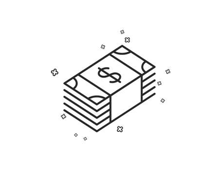 Cash money line icon. Banking currency sign. Dollar or USD symbol. Geometric shapes. Random cross elements. Linear Usd currency icon design. Vector Illustration