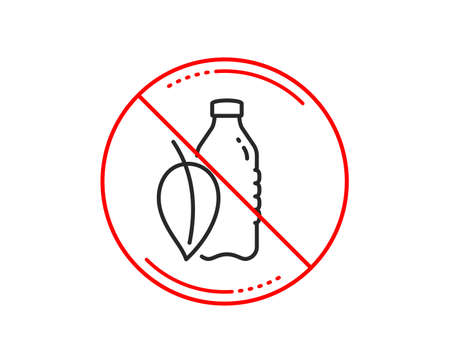 No or stop sign. Water bottle line icon. Soda aqua drink sign. Mint leaf symbol. Caution prohibited ban stop symbol. No  icon design.  Vector Illustration