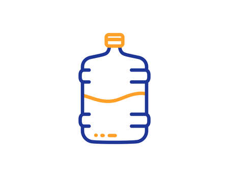 Water cooler bottle line icon. Still aqua drink sign. Liquid symbol. Colorful outline concept. Blue and orange thin line color Cooler bottle icon. Vector Ilustrace