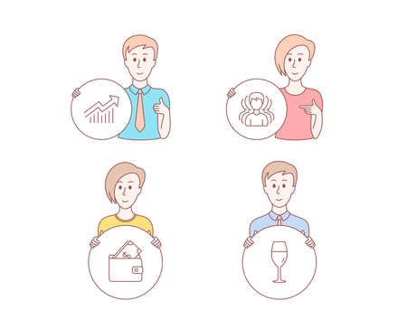 People hand drawn style. Set of Group, Wallet and Demand curve icons. Wineglass sign. Headhunting service, Usd cash, Statistical report. Burgundy glass.  Character hold circle button. Vector