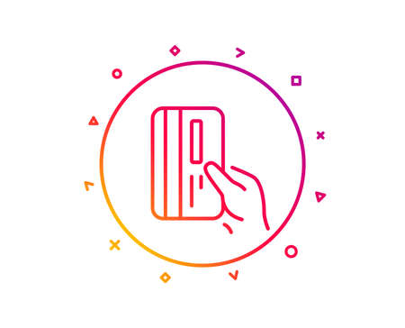 Credit card line icon. Hold Banking Payment card sign. ATM service symbol. Gradient pattern line button. Payment card icon design. Geometric shapes. Vector 版權商用圖片 - 126856250
