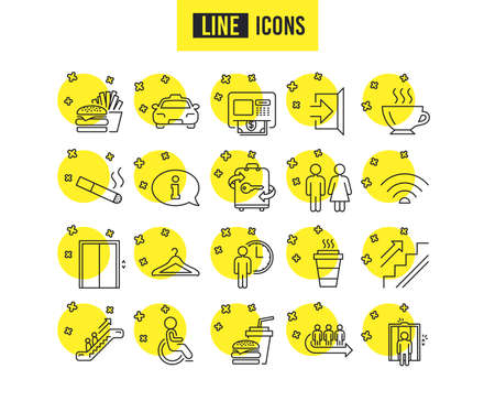 Public Services line icons. Set of Elevator, Cloakroom and Taxi signs. Exit, ATM and Escalator symbols. Wifi, Lift and Restaurant food. Information, Coffee and Smoking. Quality futuro design icons