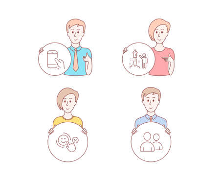 People hand drawn style. Set of Customer satisfaction, Fireworks and Hold smartphone icons. Users sign. Happy smile, Party pyrotechnic, Phone call. Couple of people.  Character hold circle button Stockfoto - 113729775
