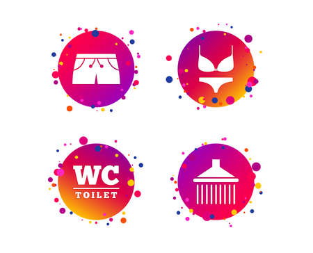 Swimming pool icons. Shower water drops and swimwear symbols. WC Toilet sign. Trunks and women underwear. Gradient circle buttons with icons. Random dots design. Vector
