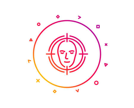 Face detect target line icon. Head recognition sign. Identification symbol. Gradient pattern line button. Face detect icon design. Geometric shapes. Vector