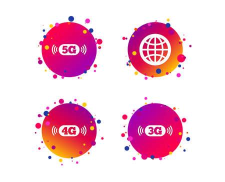 Icone di telecomunicazioni mobili. Simboli della tecnologia 3G, 4G e 5G. Segno del globo del mondo. Pulsanti cerchio sfumato con icone. Design a punti casuali. Vettore Vettoriali