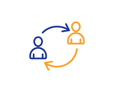 Teamwork line icon. User communication or Human resources. Profile Avatar sign. Person silhouette symbol. Colorful outline concept. Blue and orange thin line color icon. User communication Vector