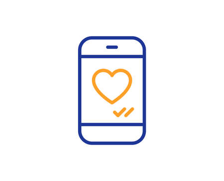Phone with heart line icon. Social media like sign. Smartphone Love message symbol. Colorful outline concept. Blue and orange thin line color icon. Love chat Vector