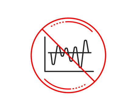 No or stop sign. Investment chart line icon. Economic graph sign. Stock exchange symbol. Business finance. Caution prohibited ban stop symbol. No  icon design.  Vector