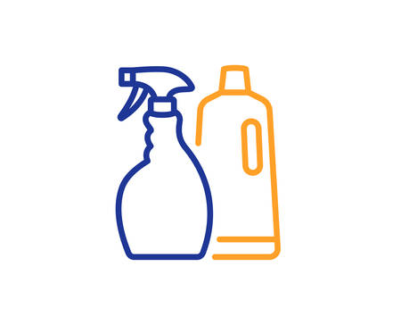 Cleaning spray and Shampoo line icon. Washing liquid or Cleanser symbol. Housekeeping equipment sign. Colorful outline concept. Blue and orange thin line color icon. Shampoo and Spray Vector  イラスト・ベクター素材