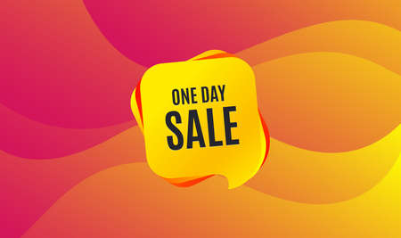 One day Sale. Special offer price sign. Advertising Discounts symbol. Wave background. Abstract shopping banner. Template for design. One day sale vector