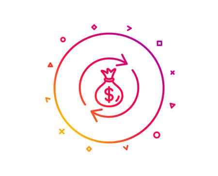 Cash exchange line icon. Dollar money bag symbol. Money transfer sign. Gradient pattern line button. Money exchange icon design. Geometric shapes. Vector