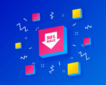 50% sale arrow tag sign icon. Discount symbol. Special offer label. Isometric cubes with geometric shapes. Creative shopping banners. Template for design. Vector