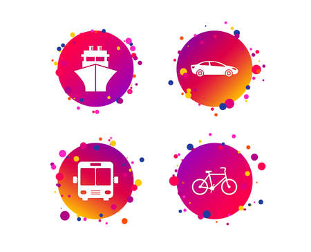 Transport icons. Car, Bicycle, Public bus and Ship signs. Shipping delivery symbol. Family vehicle sign. Gradient circle buttons with icons. Random dots design. Vector