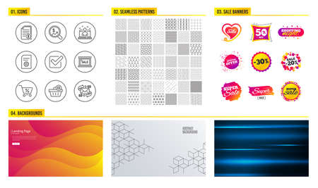 Seamless pattern. Shopping sale banners. Set of Sale, Checkbox and Special offer icons. Delete order, Currency audit and Best manager signs. File settings, Financial documents and E-mail symbols Illustration
