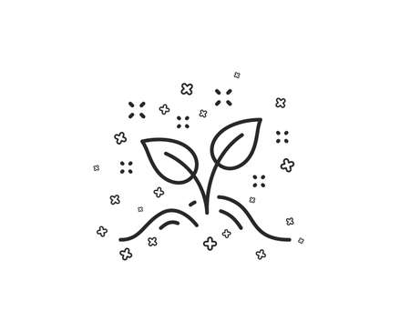 Startup concept line icon. Idea leaves sign. Launch project symbol. Geometric shapes. Random cross elements. Linear Startup concept icon design. Vector