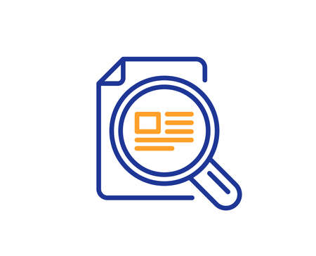 Check article line icon. Ð¡opyright sign. Magnifying glass symbol. Colorful outline concept. Blue and orange thin line color icon. Check article Vector