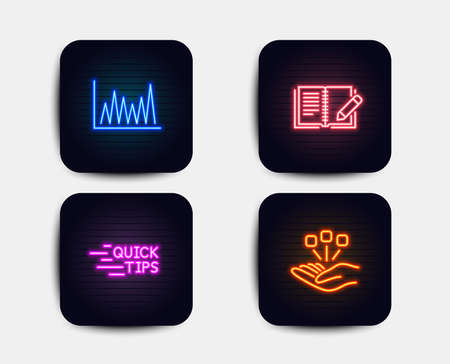 Neon set of Education, Feedback and Line graph icons. Consolidation sign. Quick tips, Book with pencil, Market diagram. Strategy. Neon icons. Glowing light banners. Vector Stock Illustratie