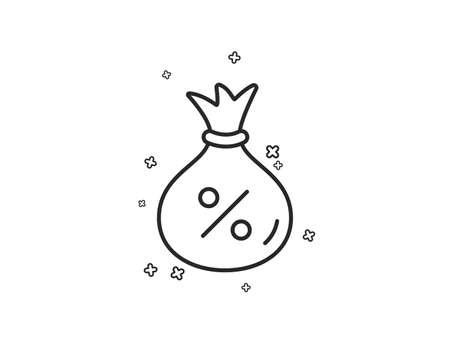 Loan line icon. Money bag sign. Credit percentage symbol. Geometric shapes. Random cross elements. Linear Loan icon design. Vector