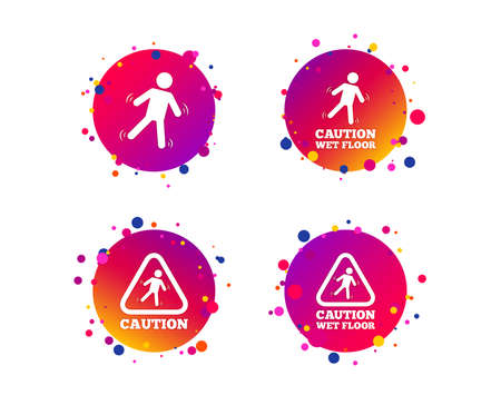 Caution wet floor icons. Human falling triangle symbol. Slippery surface sign. Gradient circle buttons with icons. Random dots design. Vector