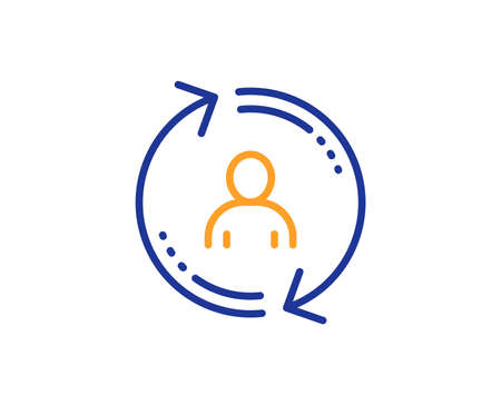 Symbol für die Benutzerinfozeile aktualisieren. Profilzeichen aktualisieren. Buntes Umrisskonzept. Blaue und orangefarbene dünne Linie Symbol für Benutzerinformationen. Vektor