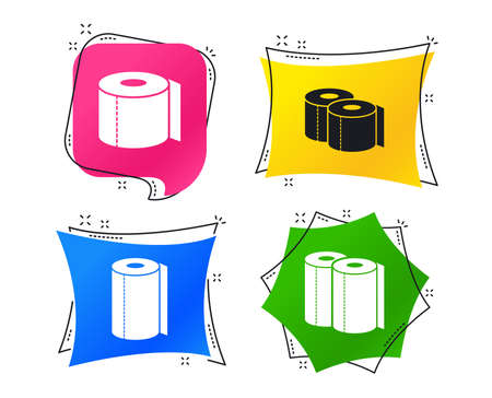 Toilet paper icons. Kitchen roll towel symbols. WC paper signs. Geometric colorful tags. Banners with flat icons. Trendy design. Vector