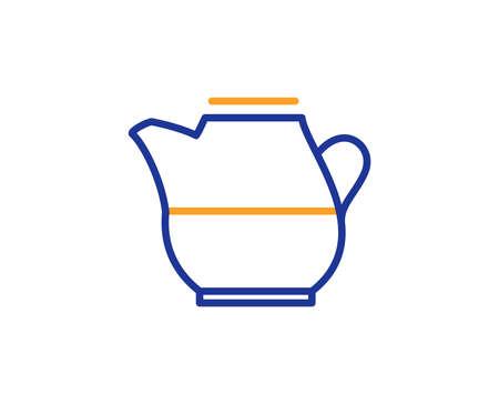 Milk jug for coffee icon. Fresh drink sign. Beverage symbol. Colorful outline concept. Blue and orange thin line color icon. Milk jug Vector