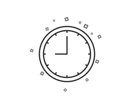 Clock line icon. Time sign. Office Watch or Timer symbol. Geometric shapes. Random cross elements. Linear Time icon design. Vector
