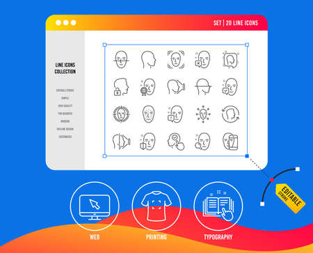 Face recognition line icons. Set of Faces biometrics detection, scanning and unlock system linear icons. Facial scan, identification and Face id symbols. Vector
