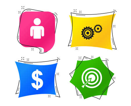 Business icons. Human silhouette and aim targer with arrow signs. Dollar currency and gear symbols. Geometric colorful tags. Banners with flat icons. Trendy design. Vector